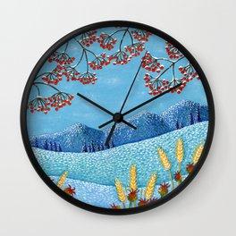 Winter Mountain Colorful Fields Wall Clock