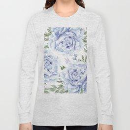 Pretty Indigo Blue Roses Garden Long Sleeve T-shirt