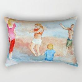 Family At The Beach Rectangular Pillow