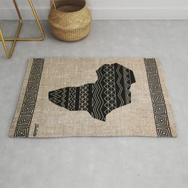 Map of Africa in Black on Beige, Ethnic Heritage, Cultural by Saletta Home Decor Rug