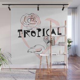 Tropical Flamingo Love rose Wall Mural