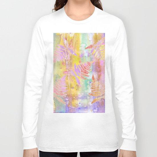 Colorful Fern Leaves W Long Sleeve T-shirt