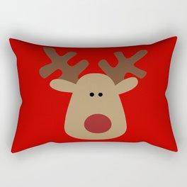 Christmas Reindeer-Red Rectangular Pillow