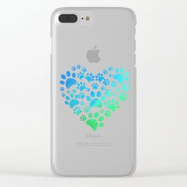 Cute Heart Dog Paws design Funny Gift For Animal Lovers Clear iPhone Case