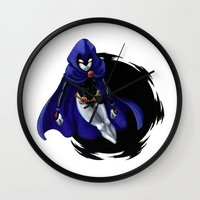 teen titans Wall Clocks featuring Teen Titans: Raven by JaDis