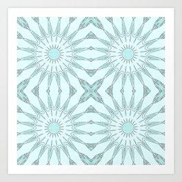 Aqua Pinwheel Flowers Art Print