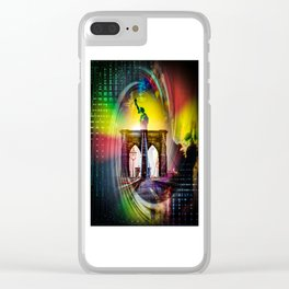 New York Brooklyn Bridge, Statue of Liberty Clear iPhone Case