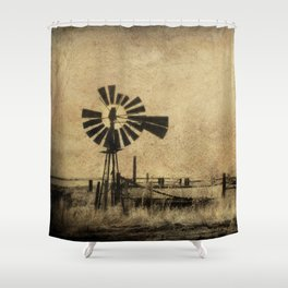Old Windmill O Sepia Western Infrared Texture Shower Curtain