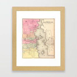 Vintage Map of New Bedford MA (1871) Framed Art Print