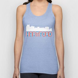 Red White Blue Hartford Connecticut Skyline Unisex Tank Top