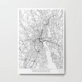 Providence Map White Metal Print