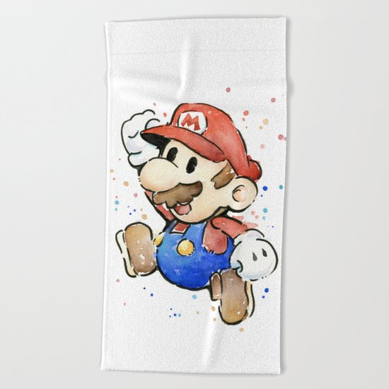 Mario Watercolor Beach Towel
