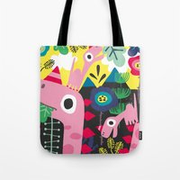 dino Tote Bags featuring Dino by Marijke Buurlage