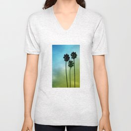 Palm Trees, Blue to Yellow Fade Unisex V-Neck
