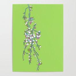 1950s / 1960s Retro Floral Flower Stem Pattern Poster