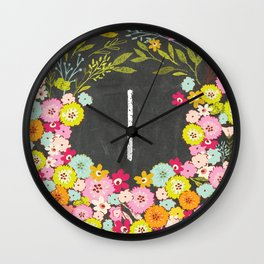 I botanical monogram. Letter initial with colorful flowers on a chalkboard background Wall Clock
