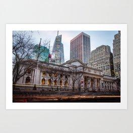 New York Public Library : old vs new buildings Art Print