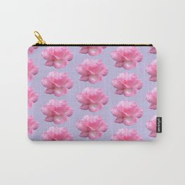 Pink Rose Pattern on Blue Carry-All Pouch