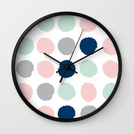 Minimal painted dots gender neutral home decor minimalist nursery baby polka dots Wall Clock