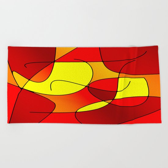 ABSTRACT CURVES #1 (Reds, Oranges & Yellows) Beach Towel