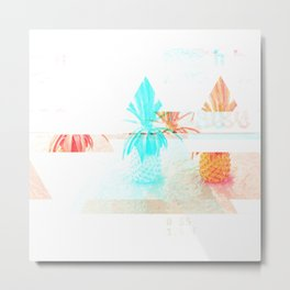 GLITCH NATURE #71: Happy Pineapple Metal Print