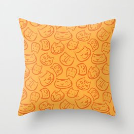 cat lady pattern Throw Pillow