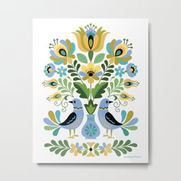 Hungarian Folk Art Birds Blue and Gold Metal Print
