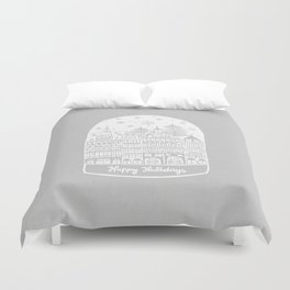 Linocut White Holidays Duvet Cover