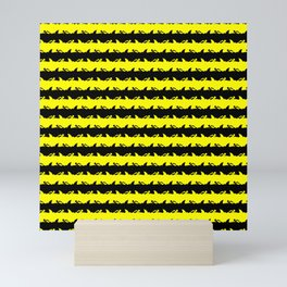 Bondi Beach Yellow and Black Shark Attack Beach Stripe Mini Art Print