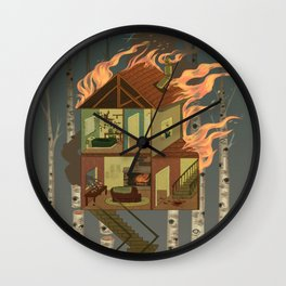House on Fire Wall Clock
