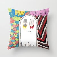 shameless Throw Pillows featuring notalent//shameless -together- by Elvis Vazquez