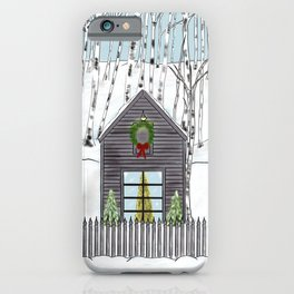 Christmas Cabin In The Snowy Woods iPhone Case