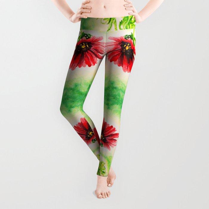 Three Red Flowers Leggings
