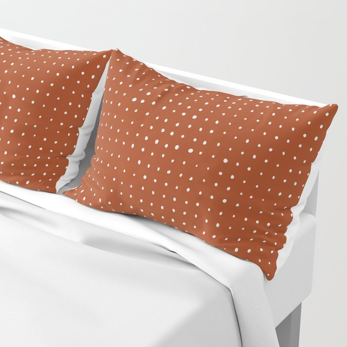 Light grey dots on rust Pillow Sham