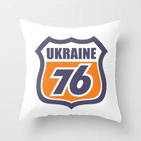 ukraine Throw Pillows featuring DgM UKRAINE 76 by DgMa