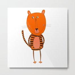Cute funny tiger Metal Print