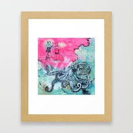 Octopus and Two Women Framed Art Print