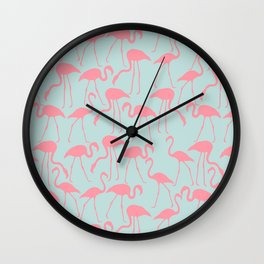 Cool Flamingos Pattern Wall Clock