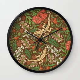 Beige lizard among pomegranate flowers and acacia false on brown background Wall Clock