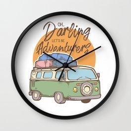 Road Trip Camping Adventure Campfire Print T-Shirt - Design Illustration Print Artwork Gift Idea Tee Wall Clock