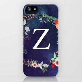 Personalized Monogram Initial Letter Z Floral Wreath Artwork iPhone Case