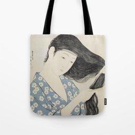 Hashiguchi Goyo: Woman Combing Her Hair Japanese Woodblock Print Blue Floral Kimono Black Hair Tote Bag