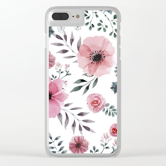 FLOWERS WATERCOLOR 16 Clear iPhone Case