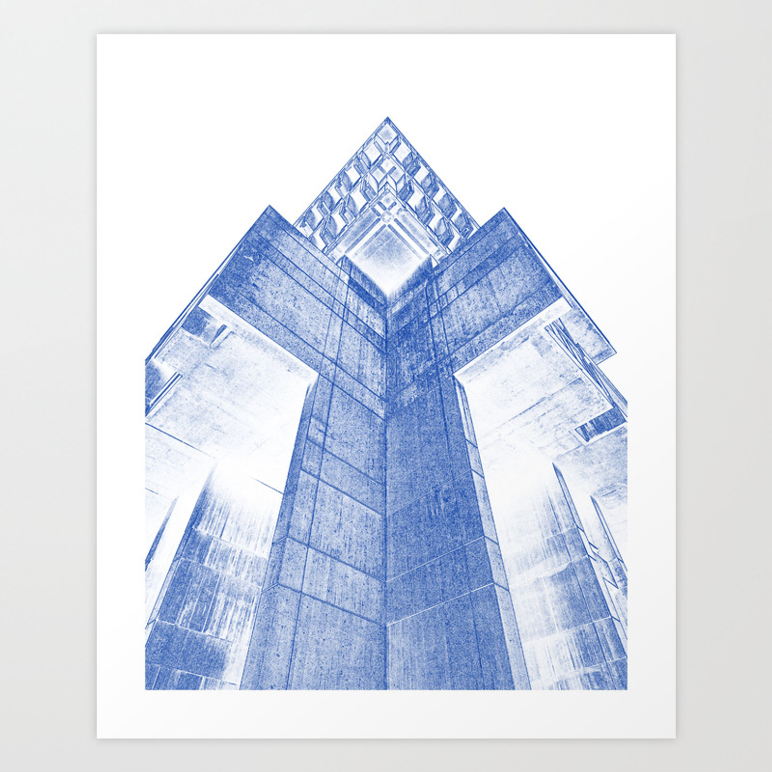 Modern building architecture blueprint art print by asarstudios society6