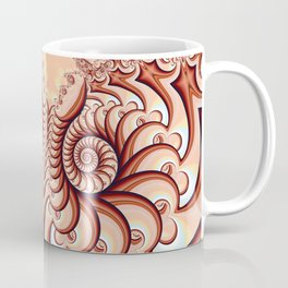 Owl Fractal Peach Coffee Mug