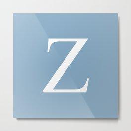 Letter Z sign on placid blue background Metal Print