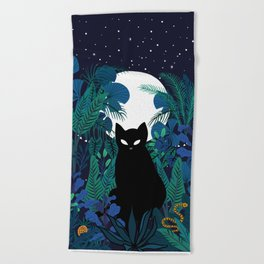 mystical cat Beach Towel