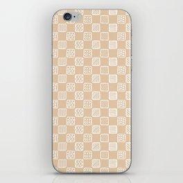 Blush peach white hand painted geometric squares iPhone Skin