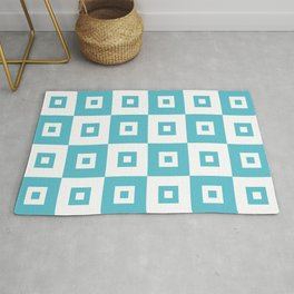 Retro Mid Century Modern Square Pattern Light Aqua Blue Green Rug