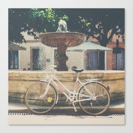 cycling across France on this pretty white bicycle Canvas Print